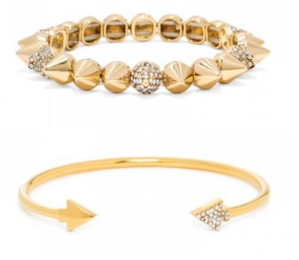 Photos from BaubleBar.com. The Ice Cone Stud Stretch Bracelet (top) and the Asymmetrical Ice Arrow Bracelet (bottom).
