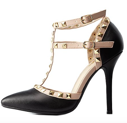 Screenshot of the Charlotte Russe Studded Strappy Pointed Toe Pump valued at $40.99.
