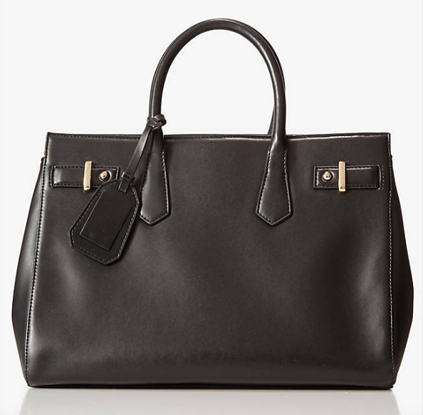 Screenshot of the (Minus the) Leather Shopper Tote from Express, available in black and red for $69.90.