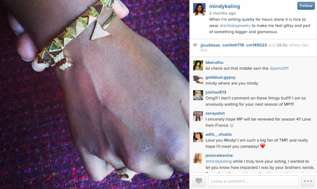 Screenshot of Mindy Kaling's Instagram. Pictured are two Anita Ko bracelets of a combined value of $12,200.