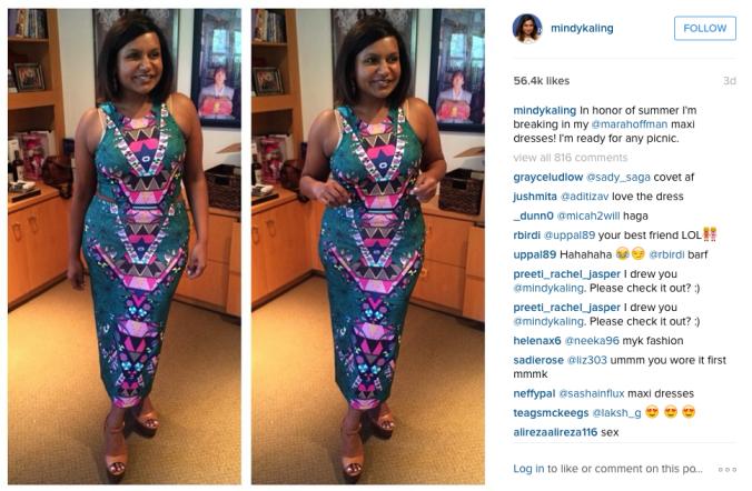 Screenshot of Mindy Kaling's Instagram.