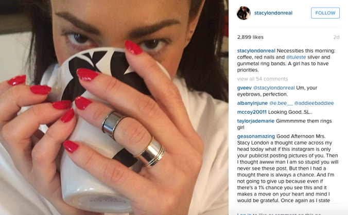 Screenshot of Stacy London's Instagram, wearing Tuleste Channel rings.