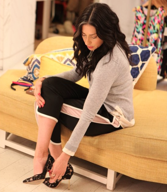 "Screenshot of Stacy London's Instagram post on TLC's Instagram account. Stacy London wearing lace Manolo Blahnik pumps on the set of ""Love, Lust, or Run."""