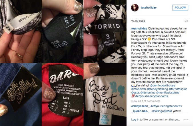 Screenshot of plus-size model Tess Holliday's Instagram post.