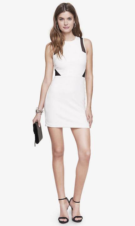 The Contrast Mesh Inset Sleeveless Sheath Dress, found on Express.com.