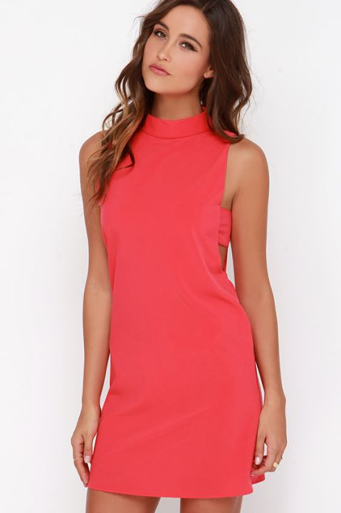 The Make Your Mock Coral Red Dress, found on Lulus.com.