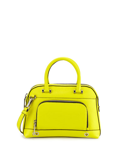 The Milly Astor Pebbled Dome Satchel Bag in Limeade, found on Neiman Marcus LastCall.