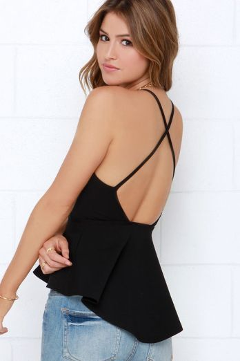 The Truly Scrumptious Black Peplum Top, found on Lulus.com.