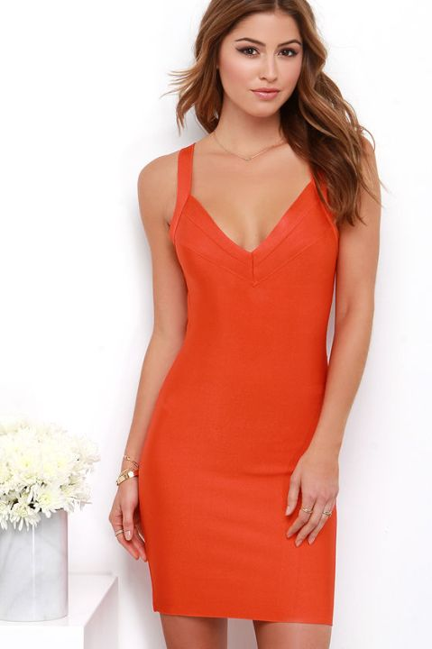 The Flash of Flame Coral Red Bodycon dress, found on Lulus.com.