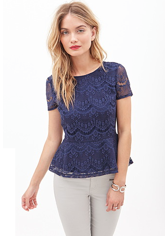 The V-Back Lace Peplum Top, found on Forever21.com.