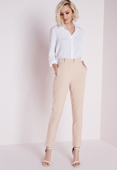 The Sammie Pleated Waist Cigarette Pant in Nude, found on Missguidedus.com.