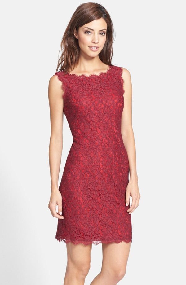 The Adrianna Papell Boatneck Lace Sheath Dress in Chianti/Red, found on Nordstrom.com.