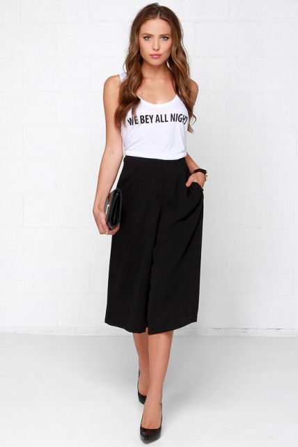 The Glamorous City Streets Black Culottes, found on Lulus.com.