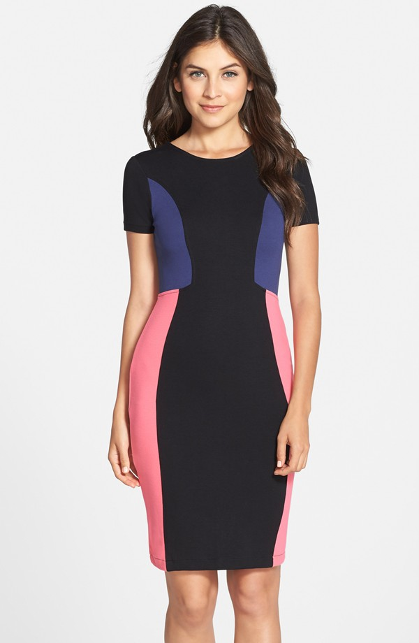 The French Connection Manhattan Colorblock Jersey Sheath Dress in black and Keywest coral, found on Nordstrom.com.