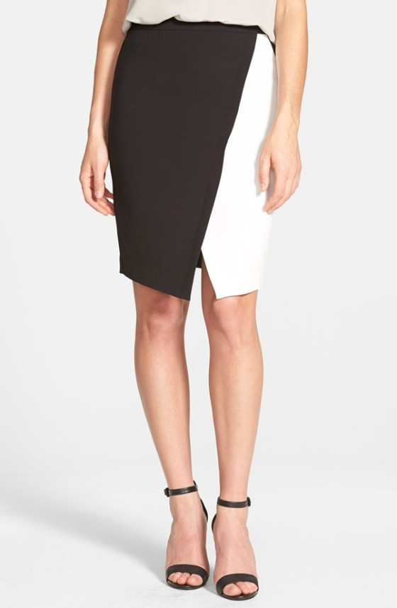 The Halogen Colorblock Faux Wrap Skirt, found on Nordstrom.com.