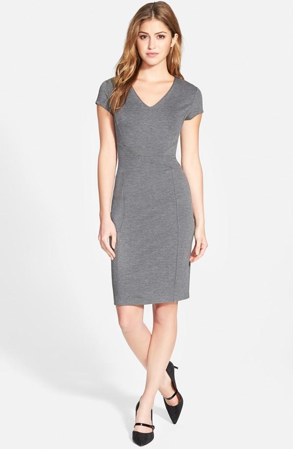 The Halogen Seamed V-Neck Ponte Sheath Dress in grey, found on Nordstrom.com.