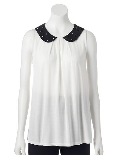 The ELLE Embellished Collar Top, found on Kohls.com.