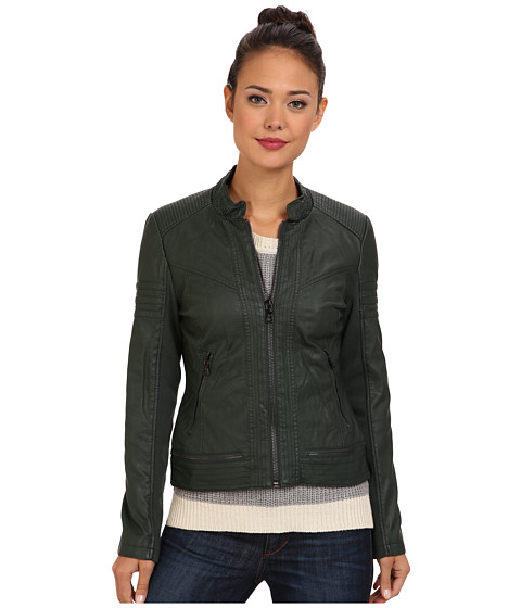 The Sam Edelman Elise Faux Leather Jacket in Hunter, found on 6pm.com.