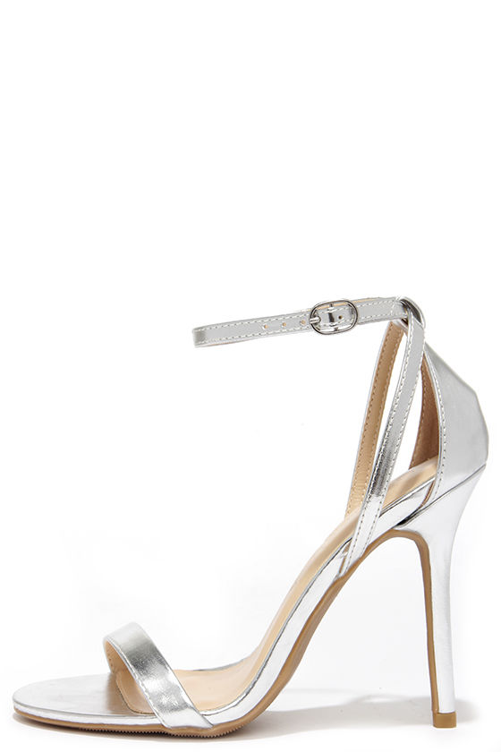 The Glam Squad Silver Ankle Strap Heels, found on Lulus.com.
