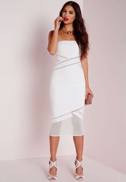 The Strapless Mesh Detail Bodycon Dress in White, found on MissguidedUS.com.