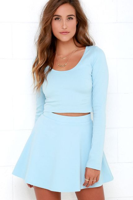 The Stratosphere Light Blue Two-Piece Skater Dress, found on Lulus.com.