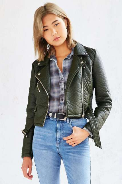 The Members Only Pebbled Vegan Leather Jacket in Olive, found on UrbanOutfitters.com.