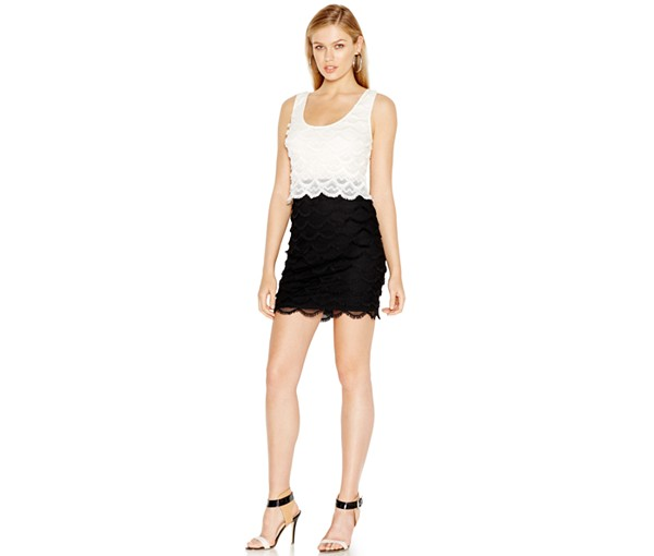 The GUESS Colorblocked Fringe-Lace Bodycon Dress, found on Macys.com.