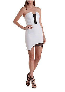 The Color Block Mesh Asymmetrical Dress, found on CharlotteRusse.com.