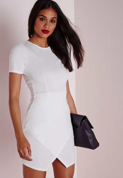 The Ponte Wrap Hem Bodycon Dress, found on Missguidedus.com.