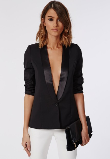 The Satin Lapel Tailored Blazer, found on Missguided.com.