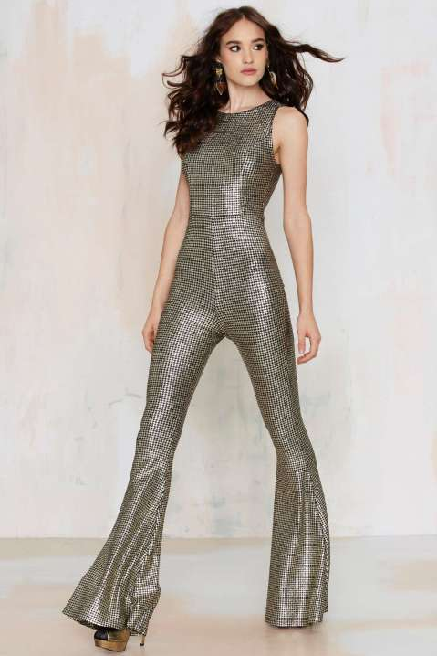 nasty gal hot shot metallic jumpsuit