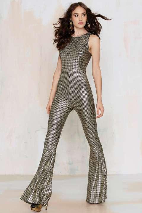 nasty gal hot shot metallic jumpsuit