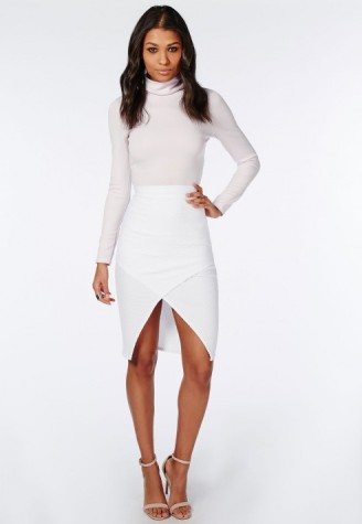 textured wrap front skirt