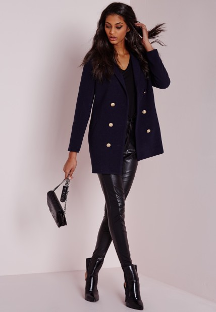 military faux wool navy coat
